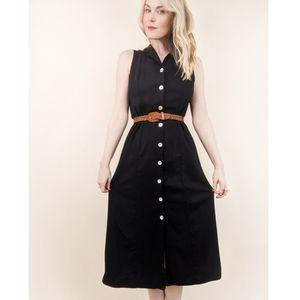 90s Vintage Black Buttoned Open Back Midi Dress